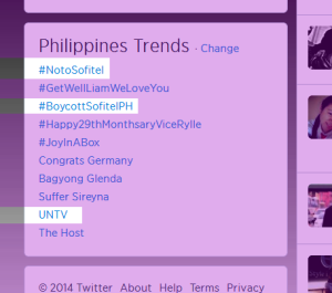 #NotoSofitel and #BoycottSofitel, the official hashtags of the boycott campaign of UNTV against Sofitel Philippine Plaza Manila, made it to the Philippine trends and peaked at the number 1 and 3 spots, respectively. (Photo grabbed from UNTV's Official Facebook Page)
